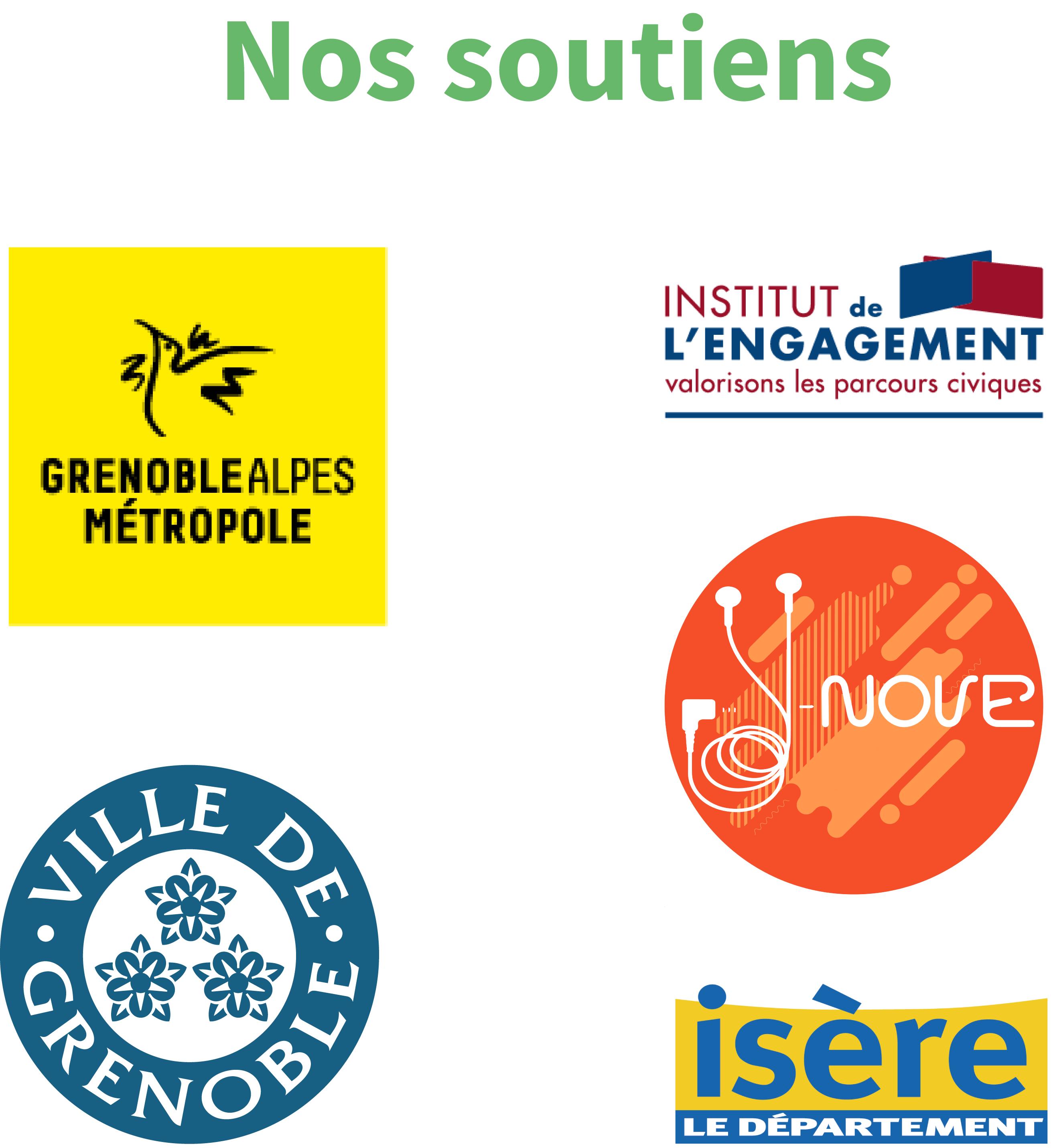 Logos partenaires Grenoble Alpes Métropole, Ville de Grenoble, Institut de l'engagement, Y-nove, Département de l'Isère